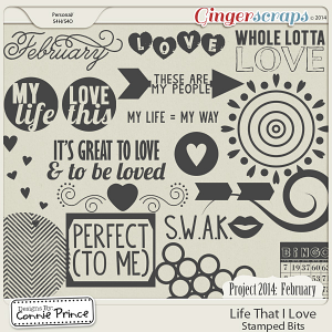 Project 2014 February:  Life That I Love - Stamped Bits