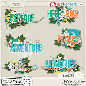 Project 2014 July: Life's A Journey - WordArt Pack