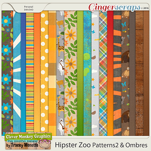 Hipster Zoo Papers 2 & Ombre by Clever Monkey Graphics