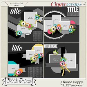Choose Happy - 12x12 Templates (CU Ok)