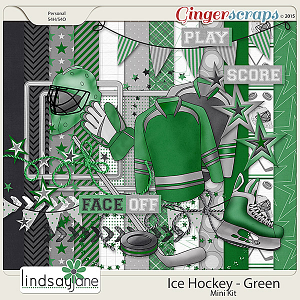 Ice Hockey Green by Lindsay Jane