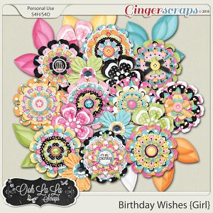 Birthday Wishes Girl Layered Flowers