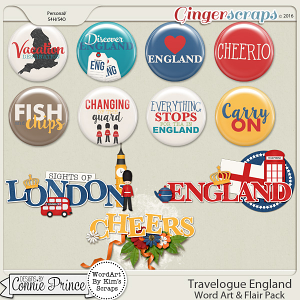 Travelogue England - Word Art & Flair Pack