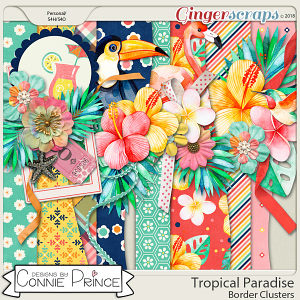 Tropical Paradise - Border Clusters by Connie Prince