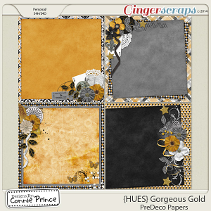 {HUES} Gorgeous Gold - PreDeco Papers