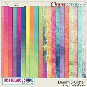Denim & Glitter Artsy Papers by JB Studio