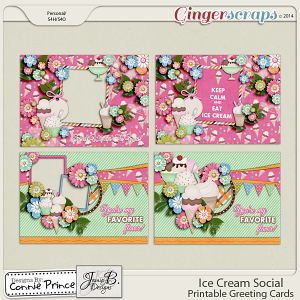Ice Cream Social - Printable Greeting Cards