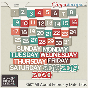360°Life All About February Date Tabs by Aimee Harrison