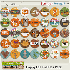 Happy Fall Y'all Flairs by Clever Monkey Graphics