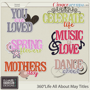360°Life All About May Word Art Titles by Aimee Harrison