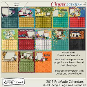 2015 8.5 x 11 PreMade Wall Calendars