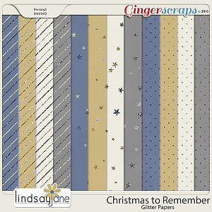 Christmas To Remember Glitter Papers by Lindsay Jane