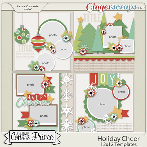 Holiday Cheer - 12x12 Templates (CU Ok) by Connie Prince