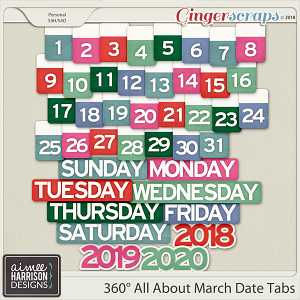 360° All About March Date Tabs by Aimee Harrison