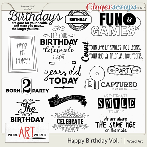 Happy Birthday Vol. 1 Word Art