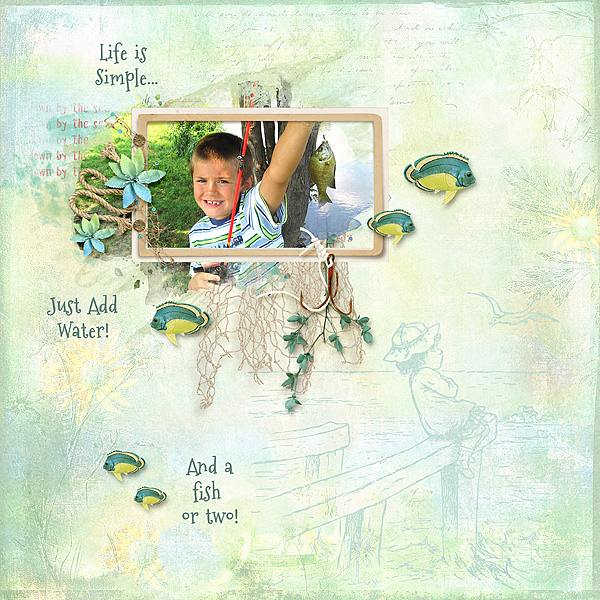 Layout using Snickerdoodle Designs Beach Day Kit