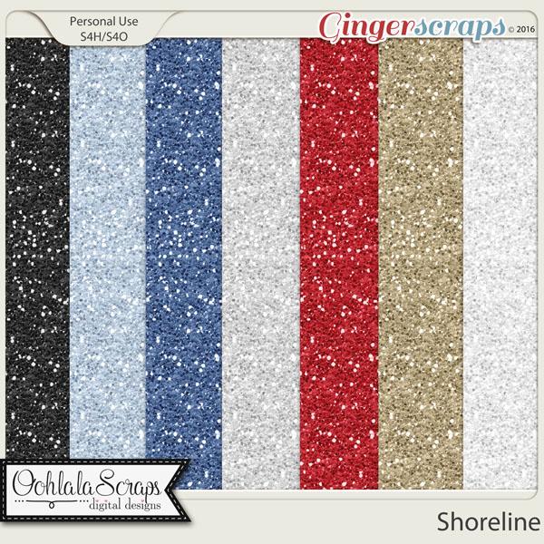 gingerscraps paper packs shoreline 12x12 glitter papers