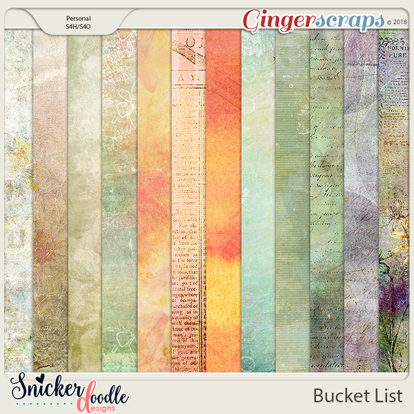 Bucket List papers by Snickerdoodle Designs