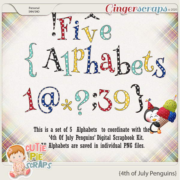 4th of July Penguins-Alphabets