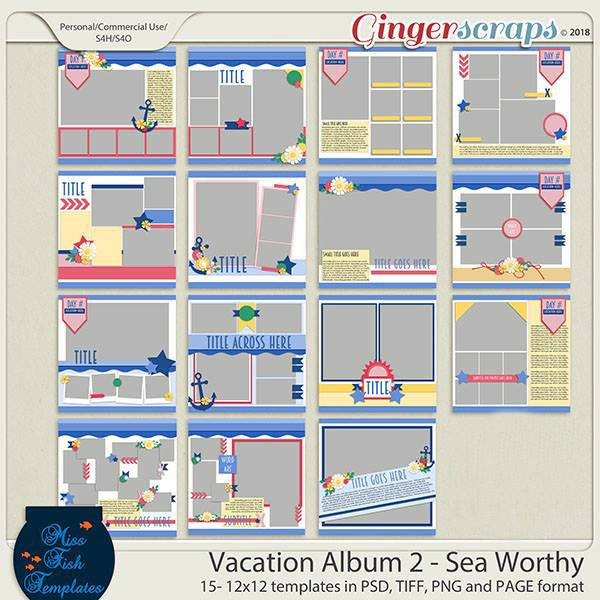 Vacation Album 2 - Sea Worthy Templates Bundle by Miss Fish