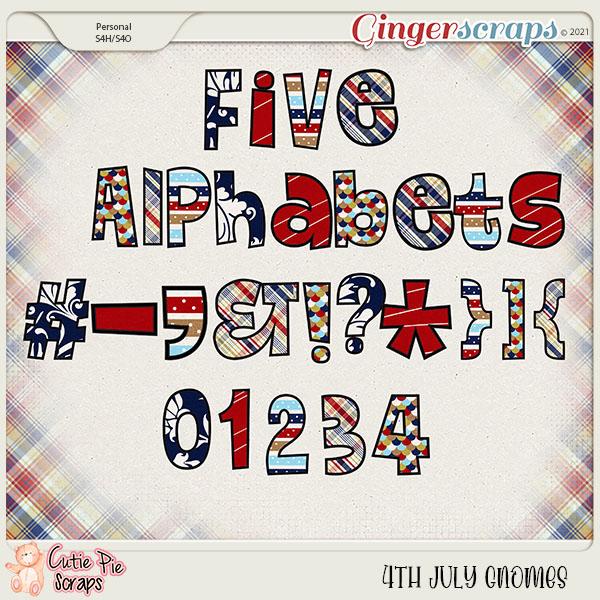4Th July Gnomes Alphabets