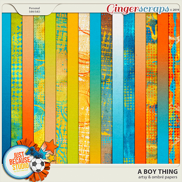 A Boy Thing Artsy & Ombre Papers by JB Studio