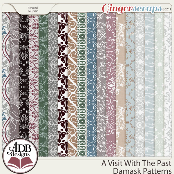 A Visit With The Past Damask Patterns by ADB Designs