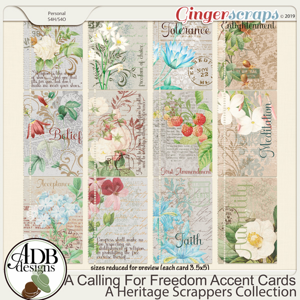 A Calling For Freedom Journal Cards by ADB Designs