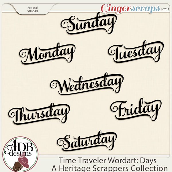 Time Traveler Word Art Days of the Week by ADB Designs