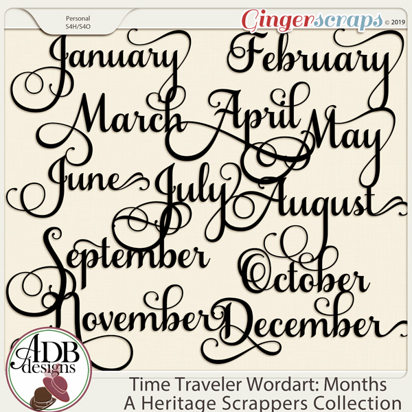 Time Traveler Word Art Months of the Year by ADB Designs