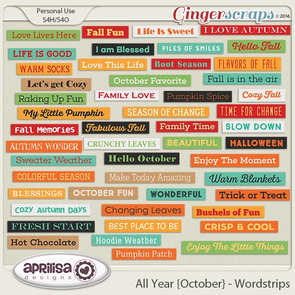 All Year {October} - Wordstrips