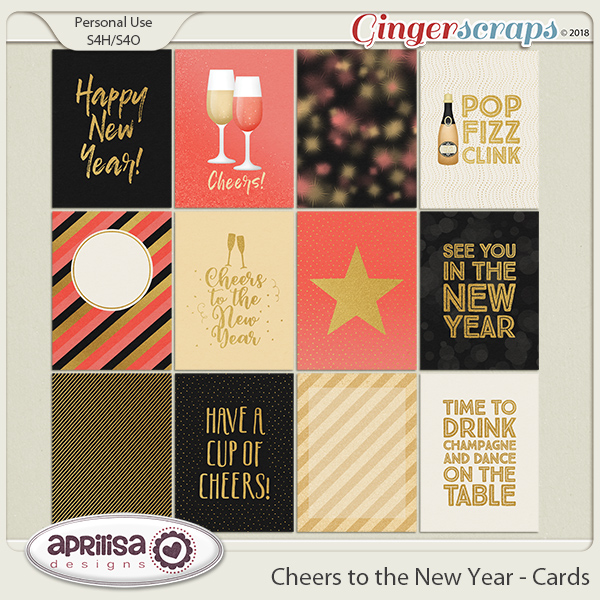 gingerscraps embellishments cheers to the new year cards