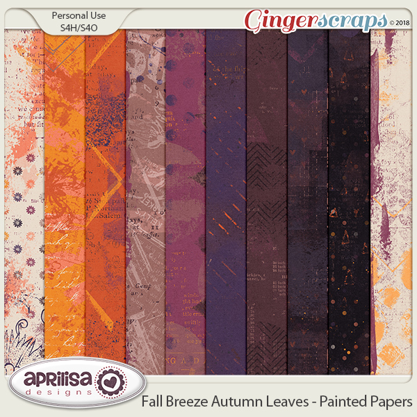 Fall Breeze Autumn Leaves - Painted Papers by Aprilisa Designs