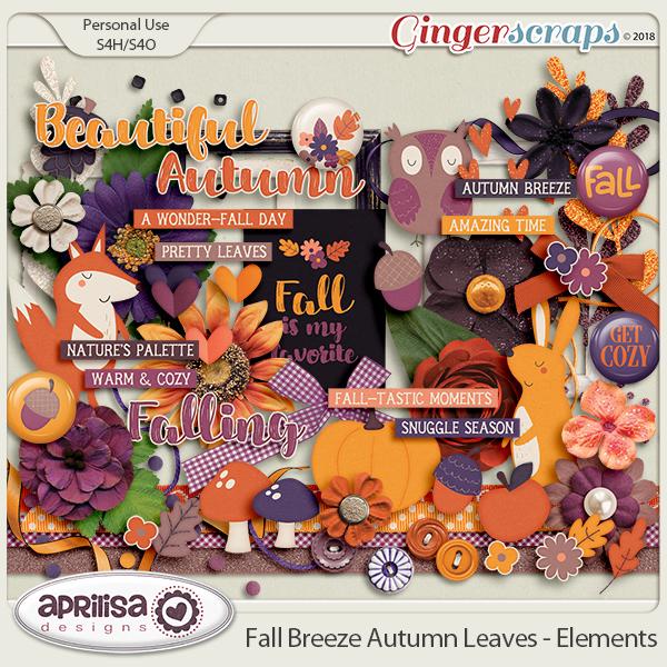 Fall Breeze Autumn Leaves - Elements by Aprilisa Designs