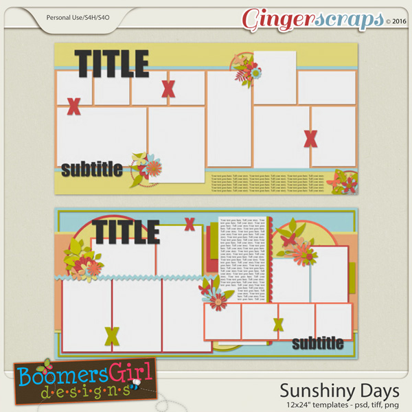 Sunshiny Days Template Pack by BoomersGirl Designs