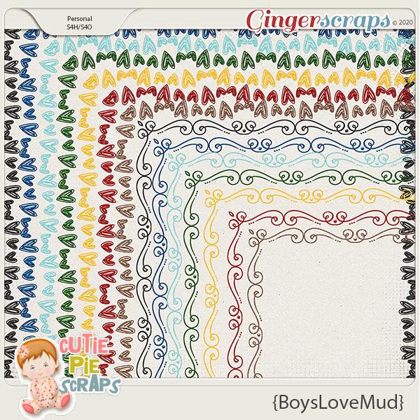 Boys Love Mud Page Borders