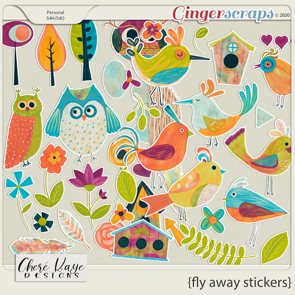 Fly Away Stickers by Chere Kaye Designs