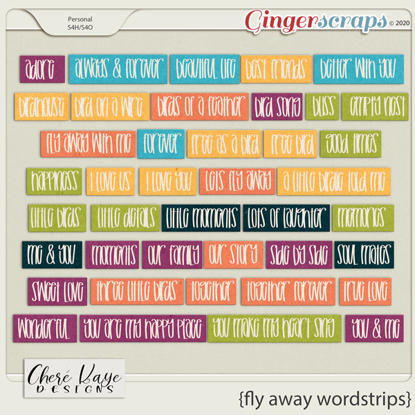 Fly Away Word Strips by Chere Kaye Designs