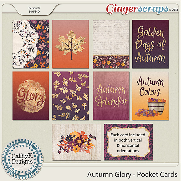 Autumn Glory - Pocket Cards by CathyK Designs