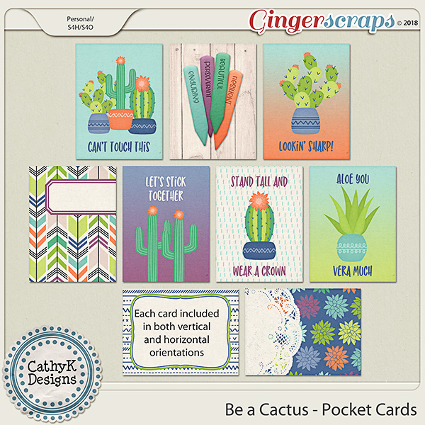Be a Cactus - Pocket Cards by CathyK Designs