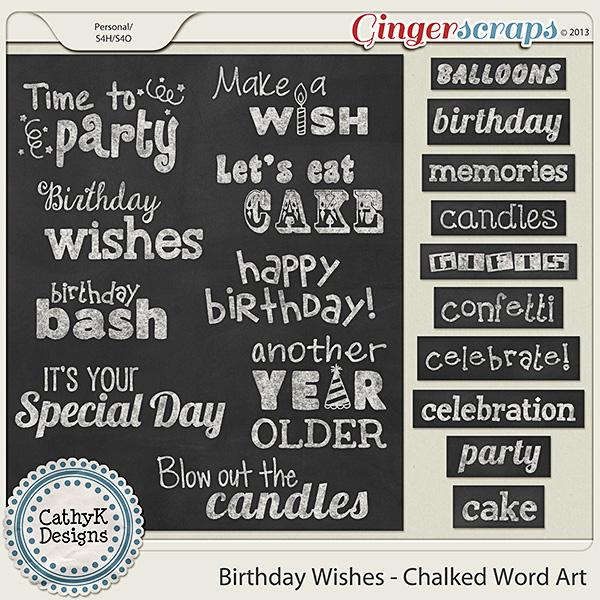 Birthday Wishes - Chalked Word Art
