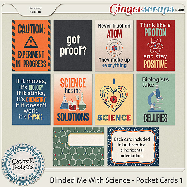 Blinded Me With Science -Pocket Cards 1 by CathyK Designs