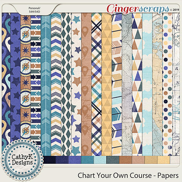 Chart Your Own Course - Papers by CathyK Designs