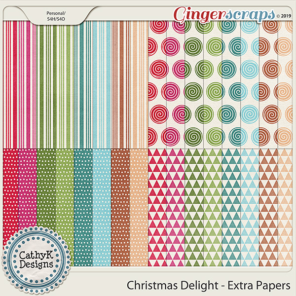 Christmas Delight - Extra Papers by CathyK Designs