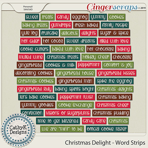 Christmas Delight - Word Strips by CathyK Designs