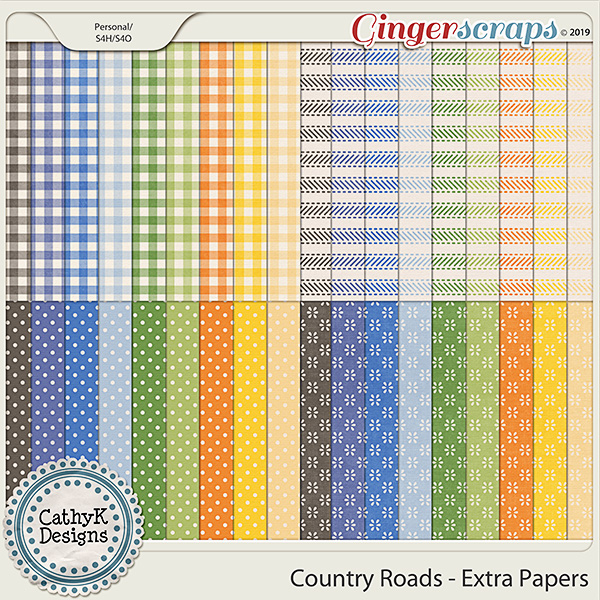 Country Roads - Extra Papers by CathyK Designs