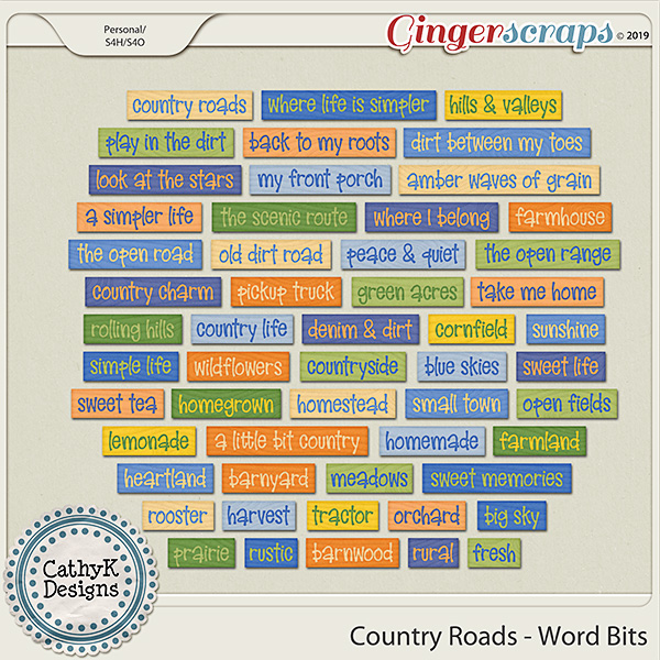 Country Roads - Word Bits by CathyK Designs