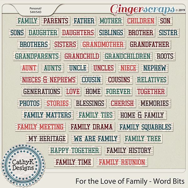 For the Love of Family - Word Strips by CathyK Designs