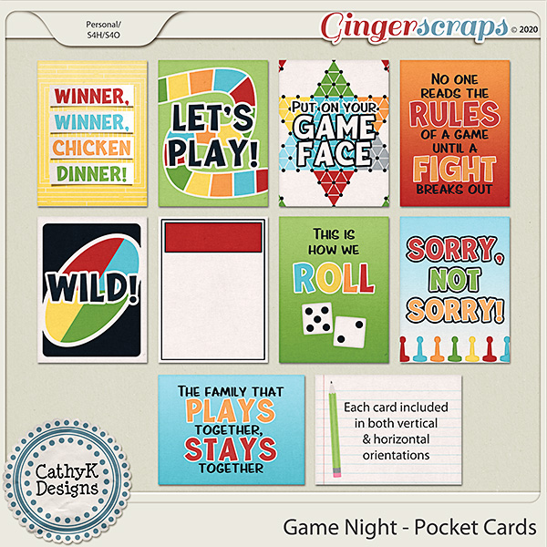 Game Night - Pocket Cards by CathyK Designs