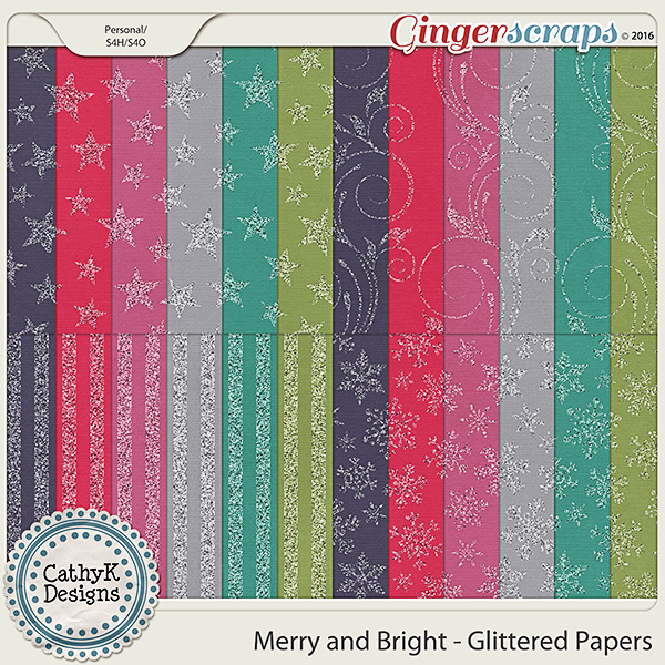 Merry and Bright - Glittered Papers